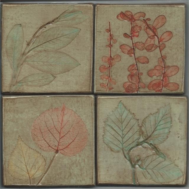 Leaf Impression Art Tiles